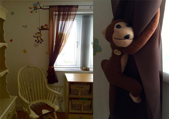 monkey curtain tie backs