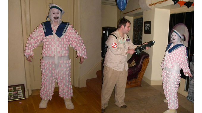how to  make a marshmallow man costume from ghostbusters