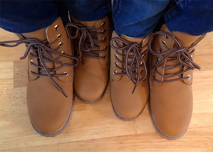 matching boots mummy daughter