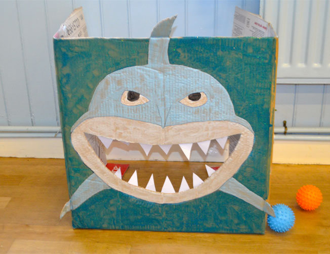 diy under the sea party game shark ball toss