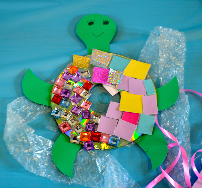 how to make a turtle from a cd