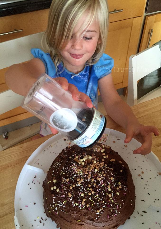 sprinkles on a cake